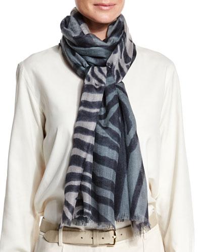 Soffio Animal-Print Cashmere-Silk Stole