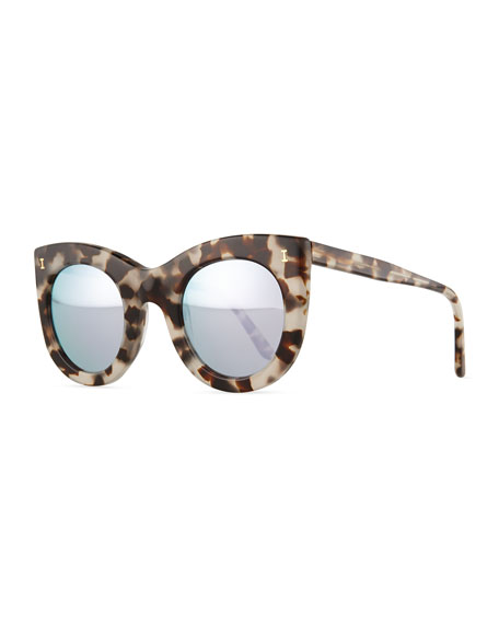 Boca Cat-Eye Sunglasses, White Tortoise/Silver