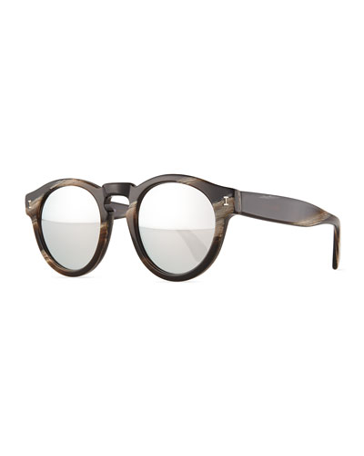 Leonard Round Mirrored Sunglasses, Brown/Silver
