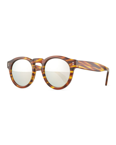 Leonard Round Mirrored Sunglasses, Amber Sand/Silver