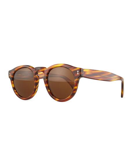 Illesteva Leonard Round Sunglasses, Amber Sand