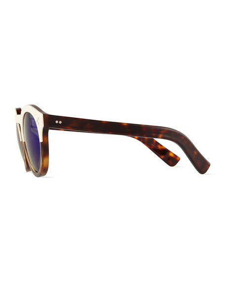 Leonard II Two-Tone Sunglasses, Cream/Havana/Violet