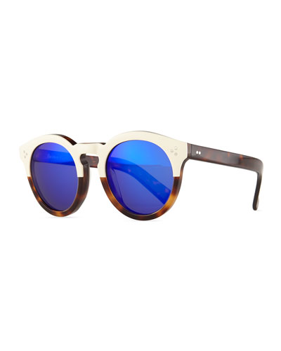 Leonard II Two-Tone Sunglasses, Cream/Havana/Violet
