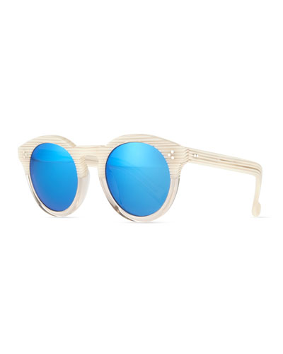 Leonard II Striped Sunglasses, Cream/Blue