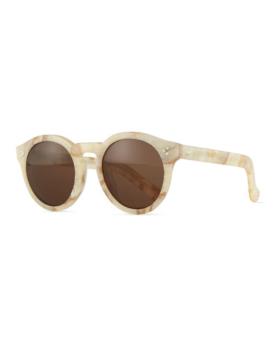 Leonard II Marbled Sunglasses, Cream/Brown