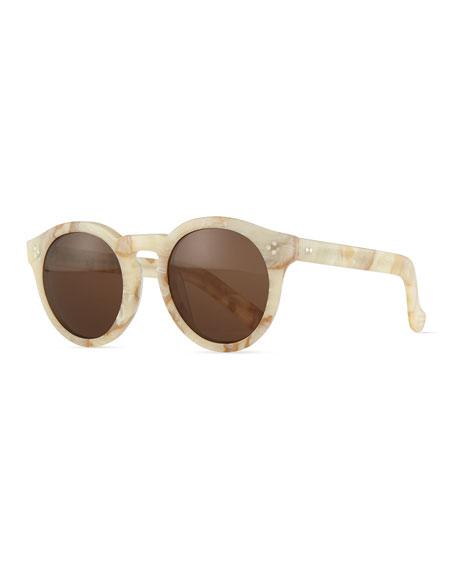 Illesteva Leonard II Marbled Sunglasses, Cream/Brown