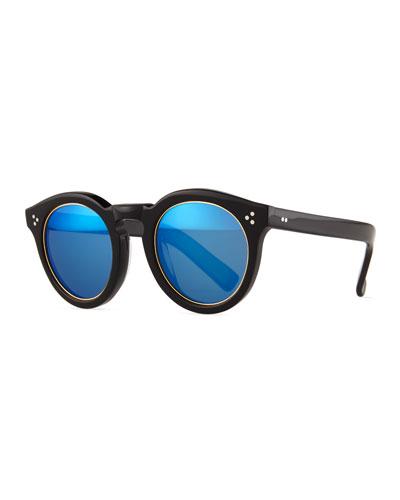 Leonard II Trimmed Sunglasses, Black/Blue