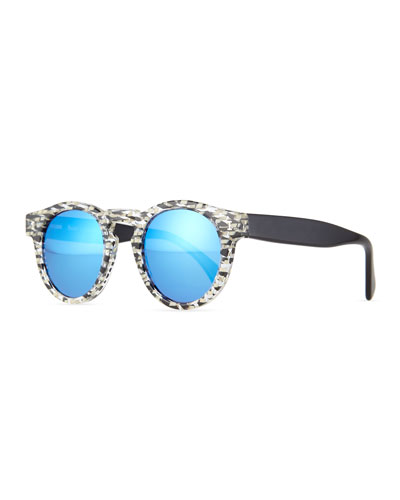 Leonard Eco Speckled Sunglasses, Gray/Blue