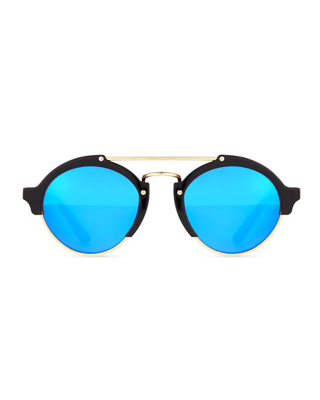 Milan II Round Sunglasses, Black/Blue