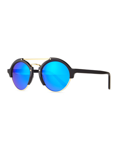 Milan II Round Sunglasses, Black/Blue