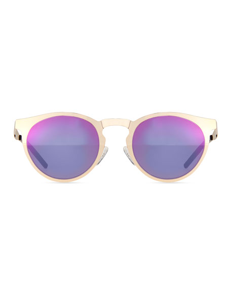 Le Steel Mirrored Sunglasses, Gold/Pink