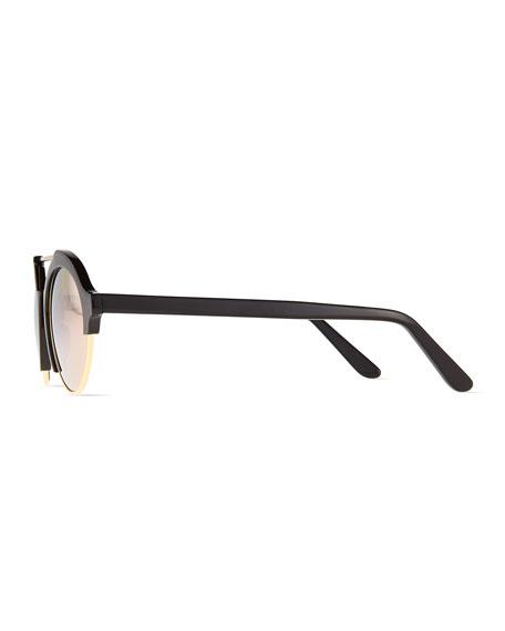 Milan IV Round Sunglasses, Black/Rose