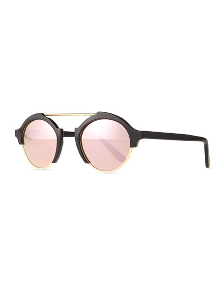 Milan IV Round Sunglasses, Black/Rose