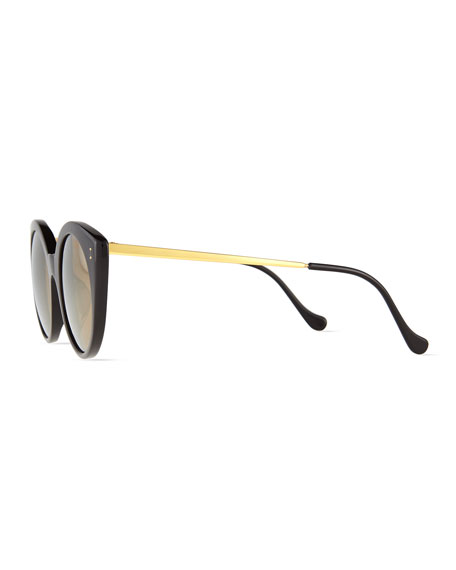 Palm Beach Mirrored Sunglasses, Black/Gold