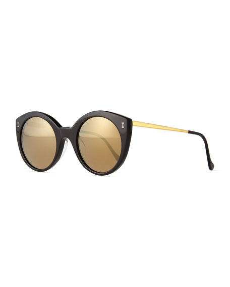 Illesteva Palm Beach Mirrored Sunglasses, Black/Gold