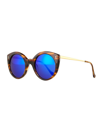 Palm Beach Mirrored Sunglasses, Sand/Violet