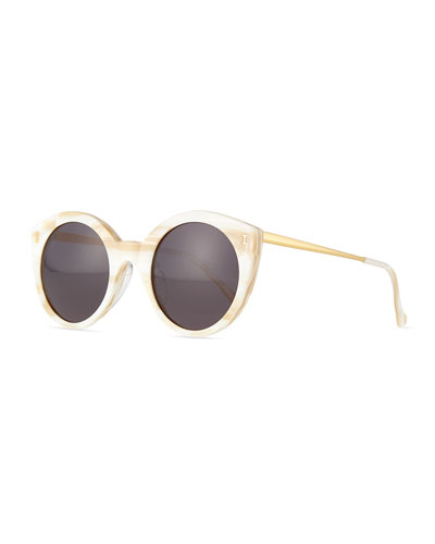 Palm Beach Round Sunglasses, Cream