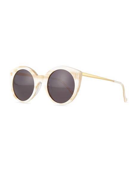 Illesteva Palm Beach Round Sunglasses, Cream