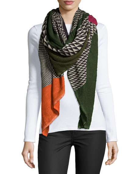 Faliero Sarti Geometric-Pattern Fan Scarf, Multicolor