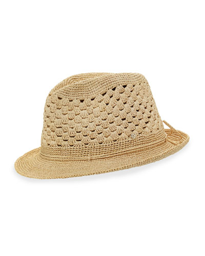Skyler Raffia Fedora Hat, Natural