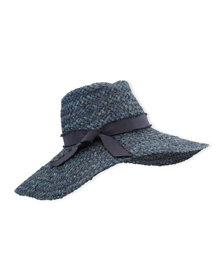 Kathleen Straw Floppy Hat, Blue
