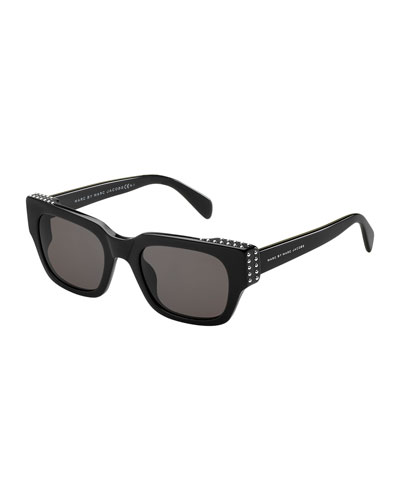 Studded Chunky Sunglasses, Black