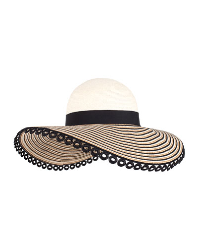 Honey Embroidered Sun Hat w/ Applique, Ivory/Camel/Black