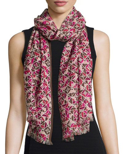 Allover Fret Wool Scarf, Burgundy
