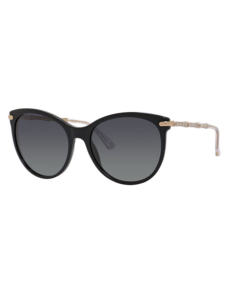 Rhinestone Cat-Eye Sunglasses, Black