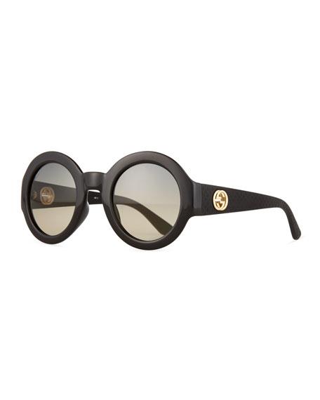 Gucci Embossed Gradient Round Sunglasses, Black