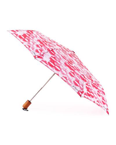 Kiss-Print Umbrella, Pink/White