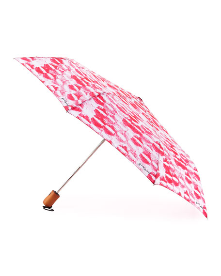 Anna Coroneo Kiss-Print Umbrella, Pink/White