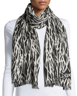 Kenley Seasonal-Print Cashmere Scarf, Black/White