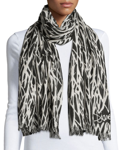Kenley Seasonal-Print Cashmere Scarf, Black/White