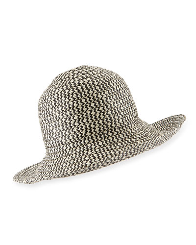 Structured Sun Hat, Black/Beige