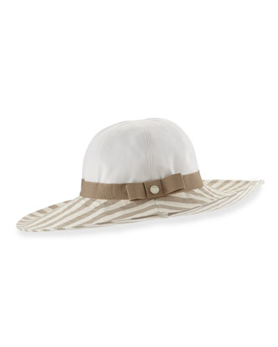 Striped-Brim Sun Hat, Tan