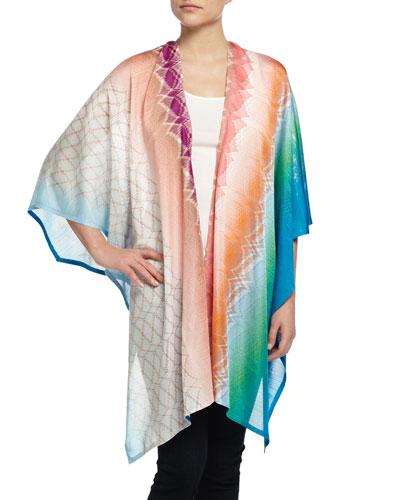 Abstract Zigzag Wrap Cape, Multicolor