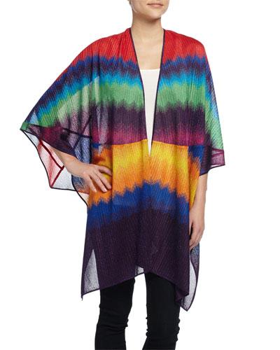 Zigzag Wrap Cape, Multicolor