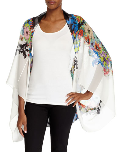 Floral Silk Shrug Wrap, Multicolor