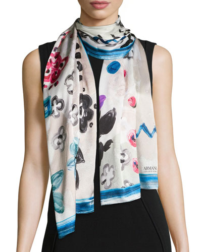 Floral Painted Stole, Blue