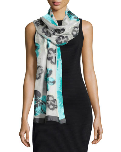 Floral Fil Coupe Stole, Turquoise