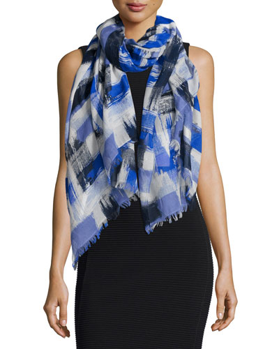 Cotton-Blend Brushstroke Stole, Blue/Black