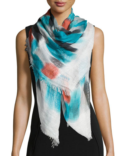 Square Mondrian-Print Metallic Stole, Multicolor