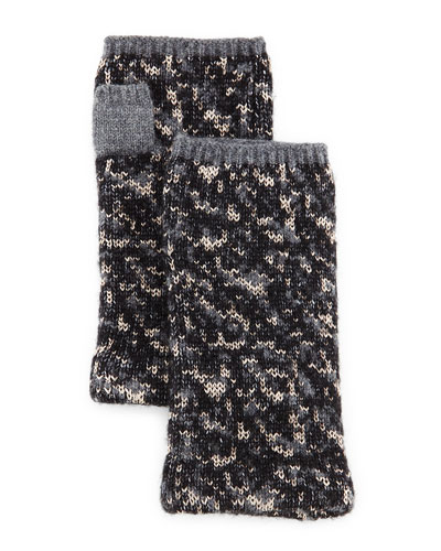 Scarlett Melange-Knit Fingerless Gloves
