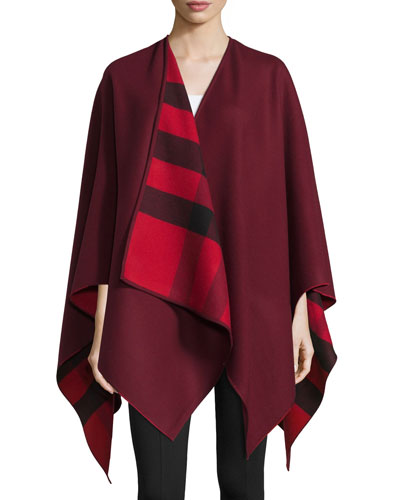Charlotte Solid Wool Cape, Parade Red