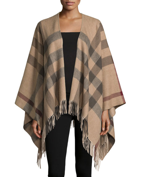 Charlotte Solid-to-Check Wool Cape, Smoked Trench