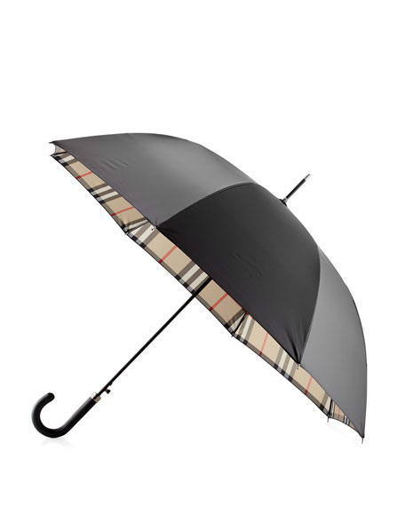 Burberry Regent Walking Umbrella, Black/Camel