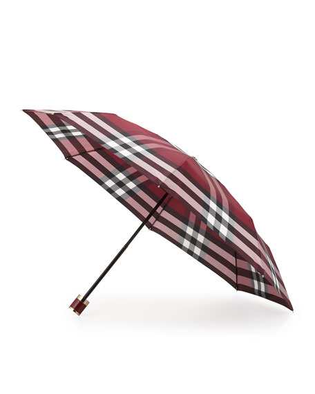 Trafalgar Packable Check Umbrella, Plum