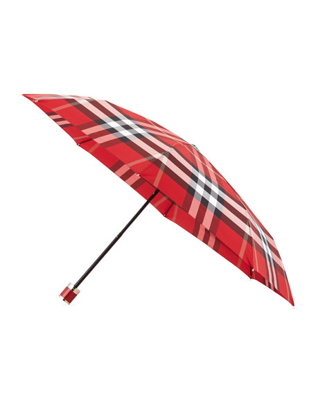 Burberry Trafalgar Packable Check Umbrella, Parade Red Check