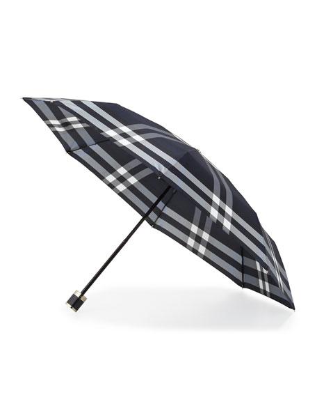 Burberry Trafalgar Packable Check Umbrella, Indigo Blue Check
